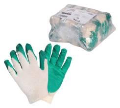 Перчатки ХБ с латексным покрытием ладони, зеленые (1 пара) AIRLINE 'AWGC06
