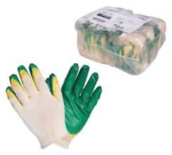 Перчатки ХБ с двойным латексным покрытием ладони, зеленые (1 пара) AIRLINE 'AWGC08