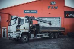 FAW J6. Бортовой грузовик с КМУ HIAB 190 TM, 8 600куб. см., 27 600кг., 6x4