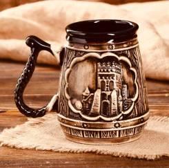 Подарок на День Рождения! Бокал пивной «Замок».0.75 л. Керамика.