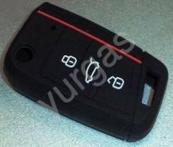 Чехол ключа зажигания Audi Skoda VW 3 кнопки силикон NEW,№ 3 черный Тайвань