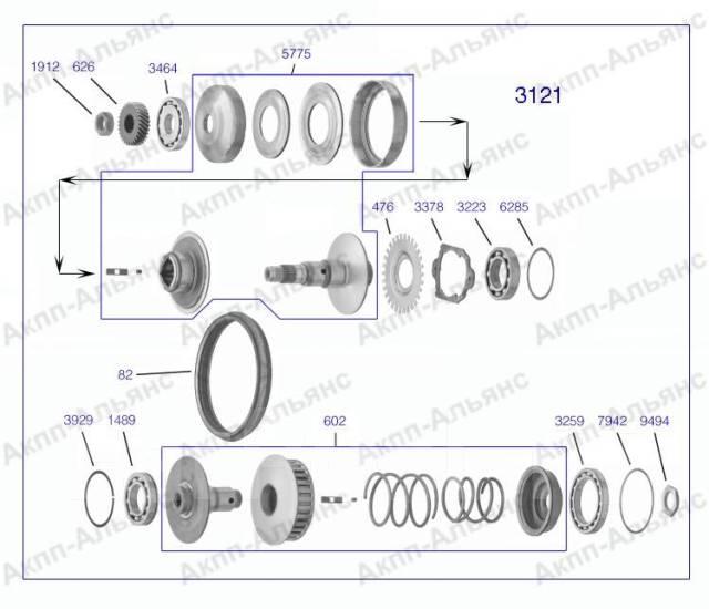 Запчасти вариатора, акпп JF015E, RE0F11A (CVT)