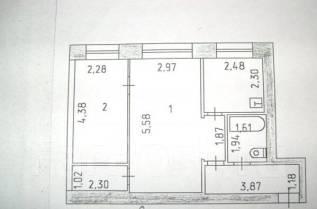 2-комнатная, улица Карла Маркса 128. Железнодорожный, агентство, 43,0кв.м.