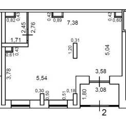 Помещение 60 кВ. м. Улица Нейбута 4а, р-н 64, 71 микрорайоны, 59,5кв.м., цена указана за квадратный метр в месяц. План помещения