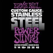 Струны для электрогитары Stainless Steel Power Slinky (11-14-18p-28-38-48) , Ernie Ball 2245