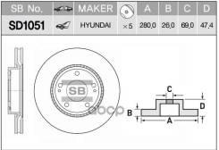 Диск Тормозной Передний (280х26) 5 Отв Sangsin brake арт. SD1051 SD1051