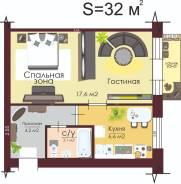 1-комнатная, улица Тихоокеанская 215. Краснофлотский, частное лицо, 32,0кв.м.