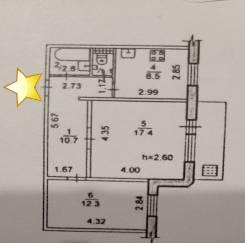 2-комнатная, переулок Засыпной 8. Центральный, агентство, 53,0кв.м.