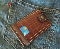 Карточный кошелек - зажим для купюр из натуральной кожи