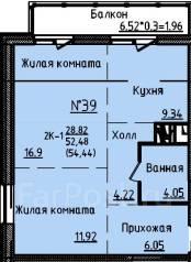 2-комнатная, улица Анны Щетининой 9а. Снеговая падь, застройщик, 54,4кв.м.