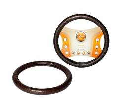 Оплетка на руль, искусственная кожа с тиснением, коричневая, 38 см / M