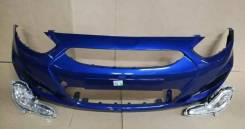 Бампер Hyundai Solaris 2010 - 2014 г. в. Синий WGM в цвет кузова
