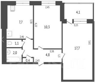 2-комнатная, улица Вокзальная 72. Центральный, агентство, 44,0кв.м.