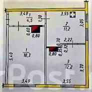2-комнатная, улица Карла Маркса 132г. Железнодорожный, частное лицо, 46,9кв.м. План квартиры