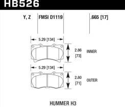 Колодки тормозные HB526Y.665 HAWK LTS передние Hummer H3