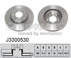Диск тормозной передний вентилируемый (280x26) 5 отв. Nipparts J3300530 J3300530