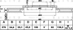 Диск тормозной передний вентилируемый Blitz BS0109 BS0109