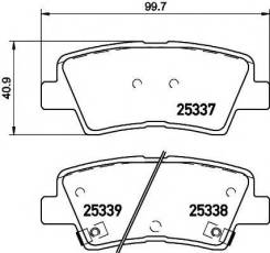 Колодки тормозные дисковые | перед/зад | Hyundai Accent IV Saloon (RB) 1.6 11.2010 - KIA RIO III Saloon (UB) 1.6 CVVT 06.2012 - | Textar 2533701 | [25...
