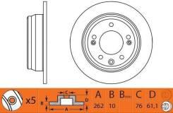Диск тормозной задний (262x10) 5 отв. NiBK RN1307 RN1307