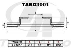 Тормозной диск (313x18x101x80.3x6) Trustauto TABD3001