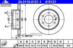 Диск Тормозной Vag/Mb Sprinter/Crafter 06- Задн.298x16 Мм. 6 Отв Ate арт. 24011601211
