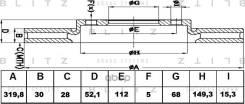 Диск Тормозной Audi A4/A5/A6/A7/Q5 07- Blitz арт. BS0329