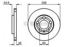 Торм. диск пер. вент. [239x18] 5 отв. [min 2] Bosch 0986479036 Vag: 6Q0615301A 6Q0615301 BD923 Skoda Fabia. Skoda Fabia (6y2). Skoda Fabia Combi. Skod...