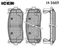 Комплект тормозных колодок диско Icer 181669 Hyundai / Kia (Mobis): 0K2FC-26-28Z 0K9A0-26-28Z 2628ZK2FC 23455 23456 D7757642 23457 Kia Carens I (Fc) 1...