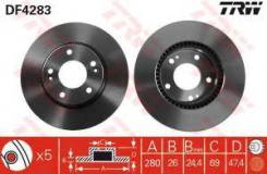 Тормозной диск Trw DF4283 Beijing Hyundai: 517120Q100 517123K010 517122C000. Hyundai / Kia (Mobis): 517122E300 517122C000 51712-1F000 517121D100