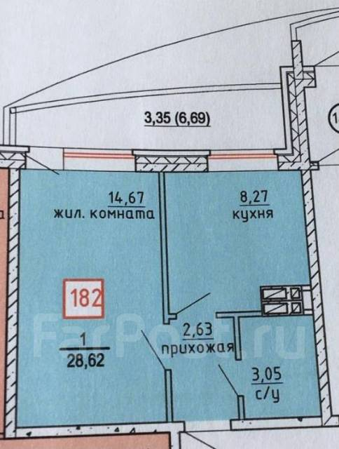 1-комнатная, улица Адмирала Горшкова 85. Снеговая падь, частное лицо, 29,0кв.м. План квартиры