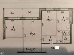 3-комнатная, улица Дикопольцева 38 кор. 2. агентство, 53,0кв.м.