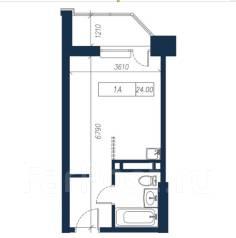 1-комнатная, улица Нейбута 135 стр. 3. 64, 71 микрорайоны, застройщик, 24,0кв.м. План квартиры