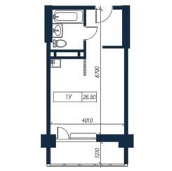 1-комнатная, улица Нейбута 135 стр. 3. 64, 71 микрорайоны, застройщик, 26,5кв.м. План квартиры