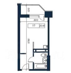 1-комнатная, улица Нейбута 135 стр. 3. 64, 71 микрорайоны, застройщик, 25,4кв.м. План квартиры