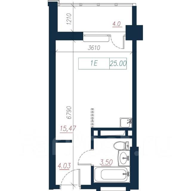 1-комнатная, улица Нейбута 135 стр. 3. 64, 71 микрорайоны, застройщик, 25,0кв.м. План квартиры