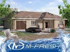M-fresh Marsel (Готовый проект простого одноэтажного дома с гаражом). 100-200 кв. м., 1 этаж, 4 комнаты, бетон