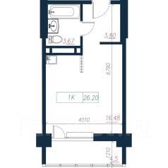 1-комнатная, улица Нейбута 135 стр. 3. 64, 71 микрорайоны, застройщик, 26,0кв.м. План квартиры