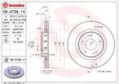 Диск тормозной Mitsubishi Outlander 03- 2.0-3.0 вент. перед. Brembo 09A73811