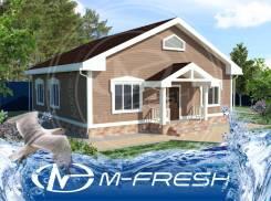 M-fresh Amigo! (Проект одноэтажного простого дома с фасадом под брус). 100-200 кв. м., 1 этаж, 5 комнат, бетон
