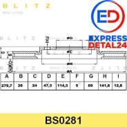 Диск тормозной перед (6r) Blitz BS0281 BS0281