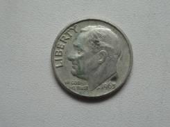 США 1 дайм (10 центов) 1963 года. Серебро 900 пробы.