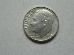 США 1 дайм (10 центов) 1964 года. Серебро 900 пробы.