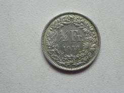 Швейцария 1/2 франка 1958 года. Серебро 835 пробы.