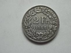Швейцария 2 франка 1944 года. Серебро 835 пробы.