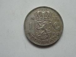 Нидерланды 1 гульден 1957 года. Серебро 720 пробы.