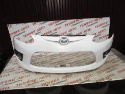 Бампер передний Mazda Demio DE5FS ZY-VE 2009 год цвет белый