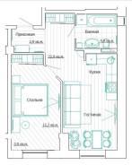 1-комнатная, улица Дзержинского 35/1. Центр, частное лицо, 46,8кв.м. Дизайн-проект