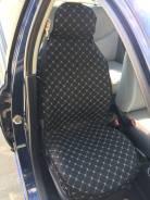 Накидки Лен на передние сиденья черные (прошивка РОМБ,закрытые бока, противоскользящая основа)