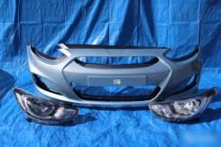 Бампер передний серый Hyundai Solaris Хендай Солярис 2010-2014