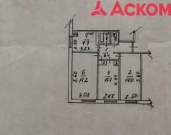 3-комнатная, переулок Некрасовский 18. Центр, проверенное агентство, 60,8кв.м. План квартиры